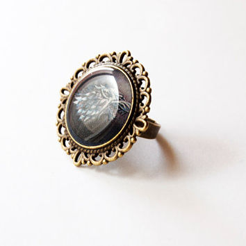 House Stark of Winterfell Crest - Stark Ring - Stark Jewelry - Game of Thrones Jewelry - A Song of Ice and Fire -Handmade Vintage Cameo Ring