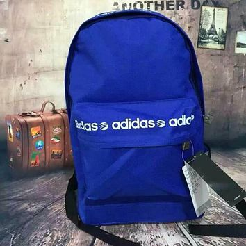 """Adidas"" Unisex Fashion Casual Canvas Letter Print Sport Travel Backpack College School Bag Laptop Bag Bookbag Sapphire Blue I"