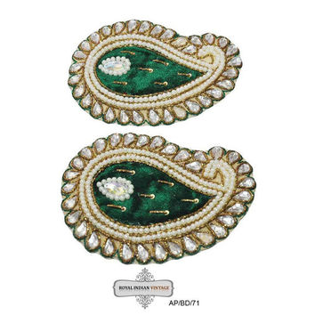 Paisley Applique Indian Craft Sewing Costume Dress Green Patch Beaded Applique 2 Pcs AP/BD/71 Free Shipping