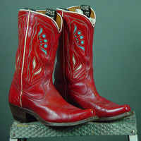 50s Acme Cowboy Boots Vintage 1950s Red Inlay Inlaid Cutout Cloth Pull Ladies Womens 6 6.5