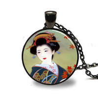 Japanese Geisha Pendant, Japanese Geisha Necklace, Japanese Geisha Jewelry, Black (PD0156)