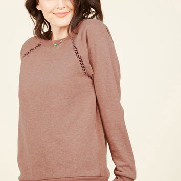 Maximum Relaxation Sweatshirt in Dusty Rose | Mod Retro Vintage Short Sleeve Shirts | ModCloth.com