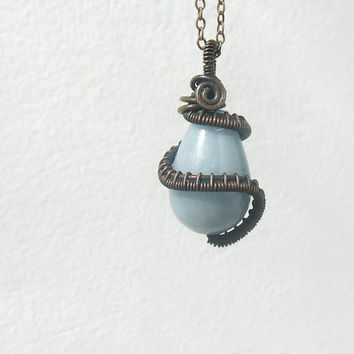 #Blue #angelite #necklace #stonenecklace #natural #handmade #jewelry #gift #christmas
