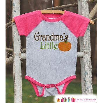 Grandma's Little Pumpkin - Kids Pumpkin Outfit - Girls Pumpkin Shirt - Pink Raglan Tshirt or Onepiece - Kids Baby, Toddler, Youth Halloween