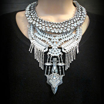 Crystal statement necklace,bib necklace, gypsy necklace, chunky crystal necklace,statement necklace,choker necklace