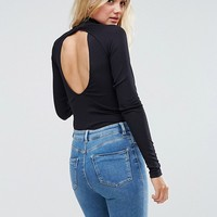 Y.A.S Tall Colli Open Back High Neck Bodysuit at asos.com