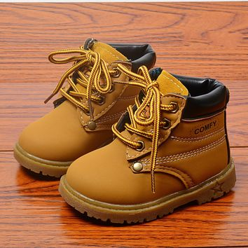 2018 New Arrive High Quality Fashion Children Martin Boots Ankle Round Toe Riding Boots Cow Muscle Bottom Boots for Child