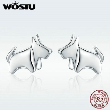 WOSTU HOT SALE Real 925 Sterling Silver Puppy Pets Bulldog Stud Earrings for Women Brand  S925 Silver Jewelry Gift DXE340