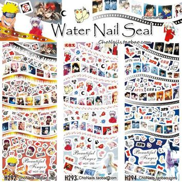 3 Sheets/Lots Nail Water Transfer Stickers Decals Manicure Watermark Tips HOT292-294 Animation Comic Cartoon Naruto Ninja