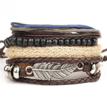Vintage Hemp Rope Leather Men's Bracelet Jewelry Elastic Beads Chain Male Bracelets Feather