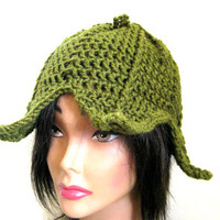 Green Fairy Flower Hat Fantasy Leaf Elven Adult Womens Costume Beanie