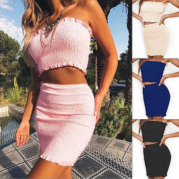 Strapless Solid Vest Skirt Set Two Piece Dress