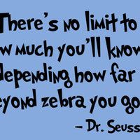 Dr Seuss Quote Vinyl Wall Decal 'There's no limit to by InitialYou
