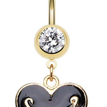 Gold Colored Juicy Banner Heart Belly Button Ring