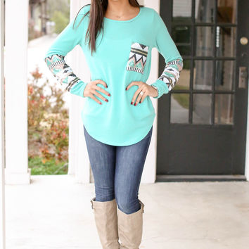 Sequin Aztec Sweater - Dark Mint