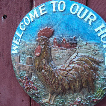 Rooster Welcome Stone, OOAK Hand Cast, Hand Painted, Ready To Hang, Inside,Outside, Almost three Pounds