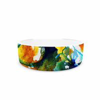 "Sonal Nathwani ""Blue Orange Floral"" Abstract Watercolor Pet Bowl"