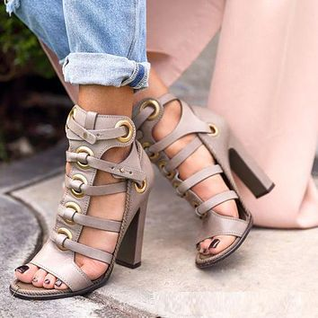 Roman Style Stripe Open Toe High Chunky Heel Sandals
