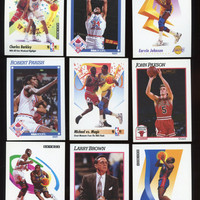 Vintage NBA 1991-92 Skybox, Hoops, lot of 9 collectible Basketball Cards features,Charles Barkley, Magic Johnson, Tim Hardaway(Sr.) Classics