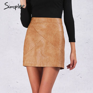 Simplee high waist classic faux leather skirt