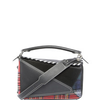 Loewe Puzzle Tartan Leather Satchel Bag, Black