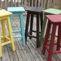 "Reclaimed wood/ Distressed/ bar stool/ counter/ bar/ stool/ painted/ colors/ 25"" to 30"" H"