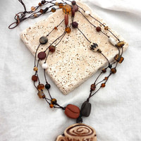 Coffee ceramic mug, coffee beads with glass and stone on cording necklace.