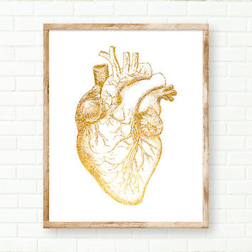 Gold Foil Heart, Anatomical Print, Human Heart Print, DIGITAL DOWNLOAD, Printable Anatomical Art, Medical Print, Anatomy Poster, Instant Art