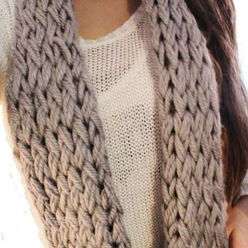 Steel Grey Knitted Circle Scarf with Double Knit Loop Pattern,Chunky Soft Fashion Neck Warmer