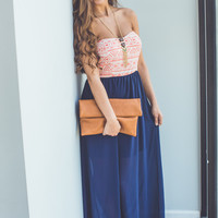 Aztec Printed Maxi in Navy