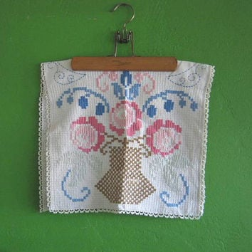 Antique Shabby Chic French Needlework Vase in Cream, Pink & Blue for Wall Decor, Pillow Cover, Project; Free Shipping/U.S.