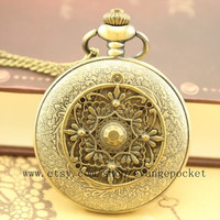 antiqueIron Man heart pocket watch jewelry Iron Man's necklace Wedding Gift steampunk style bronze