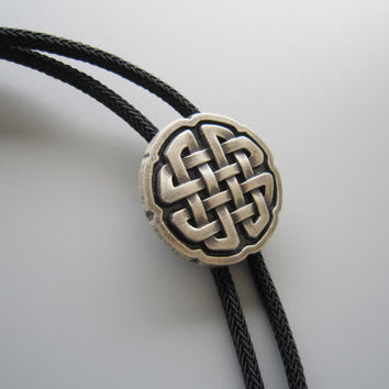 Original Cross Knot Bolo Tie Necklace With Sky System Faber Braided Rope BOLOTIE-070SK Free Shipping