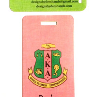Alpha Kappa Alpha Sorority Personalized Luggage Tag or Briefcase Tag - NEW DESIGN