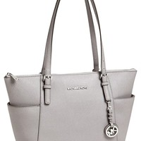 MICHAEL Michael Kors 'Jet Set' Leather Tote - Grey