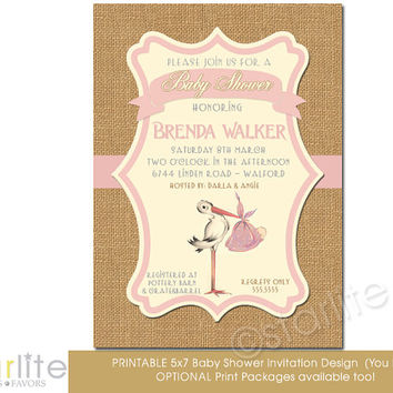 Vintage Stork Baby Shower Invitation Pink Brown