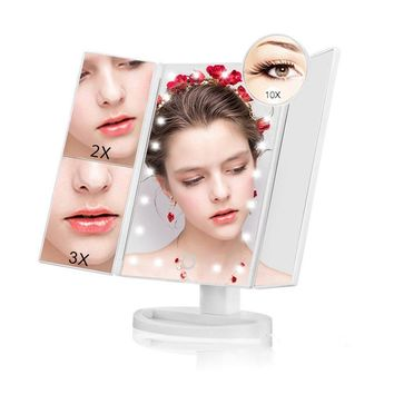 Led Lighted Vanity Mirror Trifold Makeup Mirror - NaCot 10X/3X/2X/1X Magnification