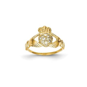 14k Yellow or White Gold 1/10ct (H/I1 Quality) Diamond Claddagh Ring