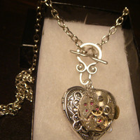 Neo Victorian Vintage Watch Movement Steampunk Heart LOCKET Necklace - Great VALENTINES DAY Gift (1549)