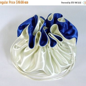 ON SALE 10% OFF Wedding Bag  Satin Bridal Drawstring Money Purse Ivory and Royal Blue No Pockets
