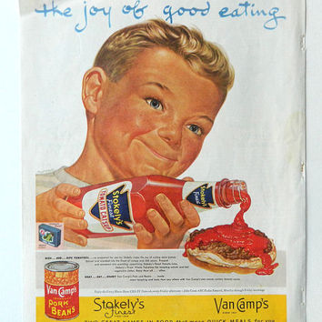 Boy with Ketchup - Stokely's Ad - 1950's food ad, The Joy of Good Eating, Van Camp's Pork and Beans, Kitchen wall art, Vintage Food Wall Art