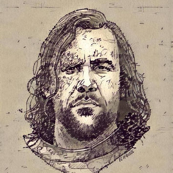 Game of Thrones Original Oil Painting - The Hound Sketch - 12x12 to 24x36 painting/poster/canvas; great gift idea