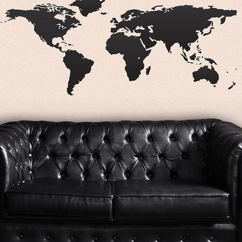World Map Wall Decal. Great Living Room Decor. #131