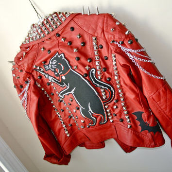 Custom Red Studded Leather Cat Jacket XS by MoonShineApparel