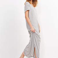 Grey Stripe Short Sleeve Curved Hem Ribbed Dress
