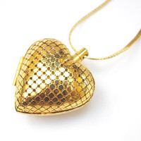 Gold Mesh Heart Locket  necklace - Puffy Heart Pendant - 30 inch Gold flat chain -