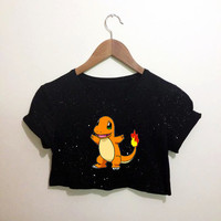 Charmander Pokemon Inspired Black Crop Top T Shirt Festival Emo Hipster Kawaii