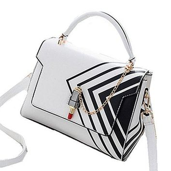 Amazing Unique White HandBag / Shoulder Bag with Triangular Black Accents andLipstick Closure