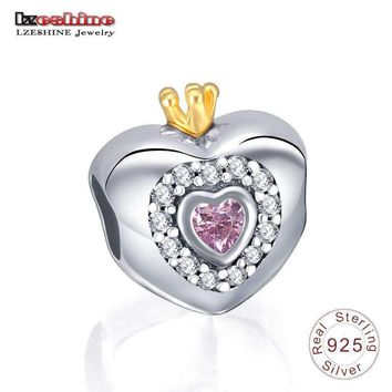 LZESHINE Authentic 925 Sterling Silver Charms Princess Heart Pink CZ Charms Fit Bracelet Jewelry Making PSMB0622