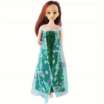1 Pcs Barbie Doll Fairy Tale Doll Clothes Princess Elsa Similar Movie Outfit Green Dress For Barbie Dolls Girl Gift Kid Toys